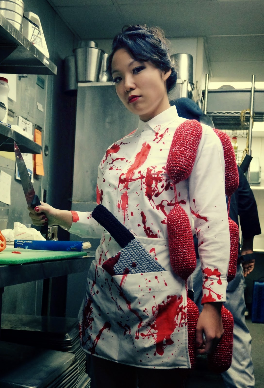 i  amicute Crocheted Bloody Butcher Halloween Costume
